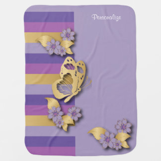 Purple and Gold Stripes with Butterflies Baby Blanket