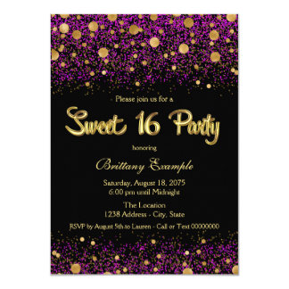 """Purple and Gold Sweet Sixteen Party 4.5"""" X 6.25"""" Invitation Card"""