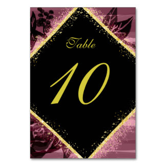 Purple and Gold Table Number