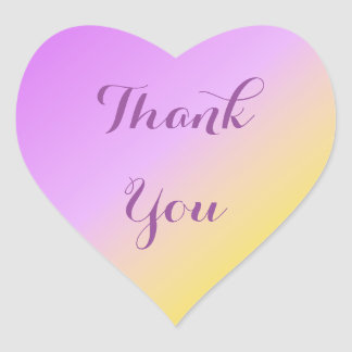 Purple and Gold Thank You Ombre Heart Sticker