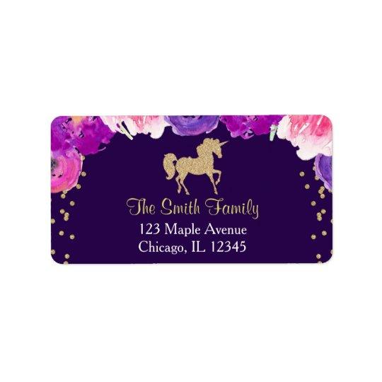 purple and gold unicorn return address labels