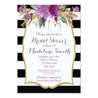 Purple and Gold Watercolor Flowers Bridal Shower Card
