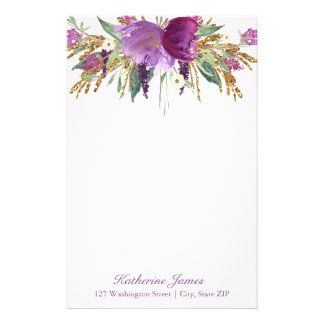 Purple and Gold Watercolor Flowers Personalized Stationery