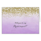 Purple and Gold Will You Be My Bridesmaid Card