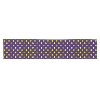 Purple and Golden Polka Dot Table Runner