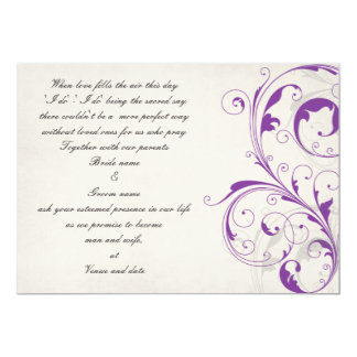 Purple and Graphite customizable wedding invite