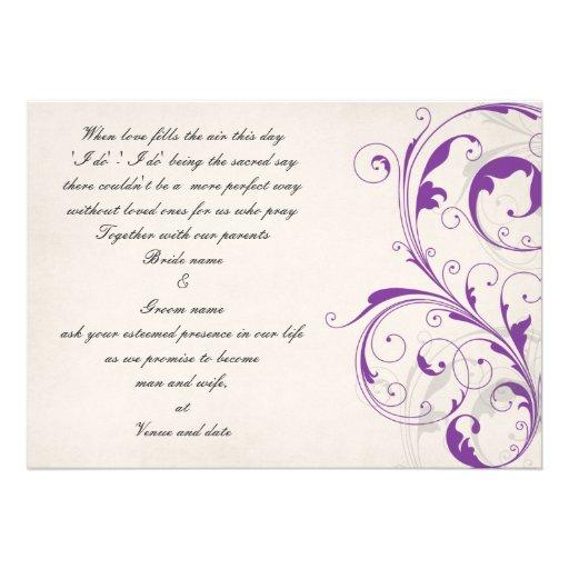 Purple and Graphite customizable wedding invite