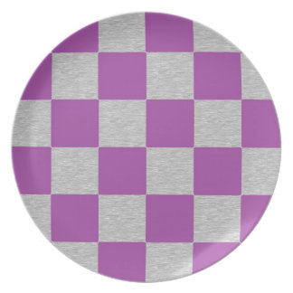 Purple and Gray Checkered Plate
