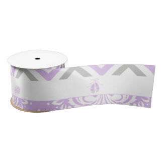 Purple and Gray Chevron Ballerina Satin Ribbon