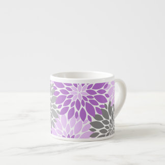 Purple and Gray Chrysanthemums Floral Pattern Espresso Cup
