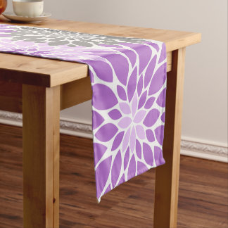 Purple and Gray Chrysanthemums Floral Pattern Short Table Runner