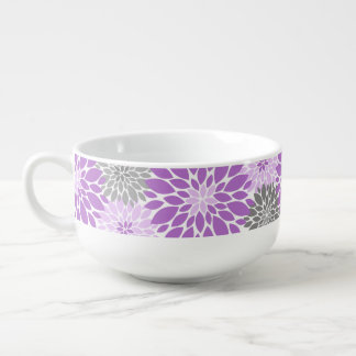 Purple and Gray Chrysanthemums Floral Pattern Soup Mug