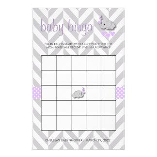 Purple and Gray Elephant Baby Shower Bingo Stationery