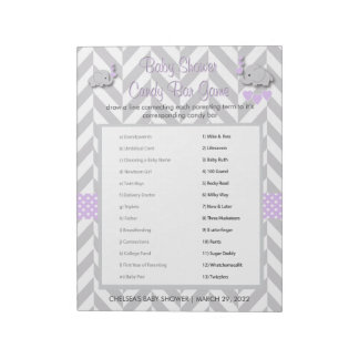Purple and Gray Elephant Baby Shower Game Notepad