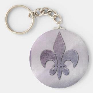 Purple and gray fleur-de-lis basic round button keychain