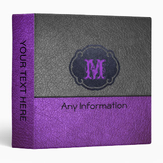 Purple and Gray Leather 3 Ring Binders