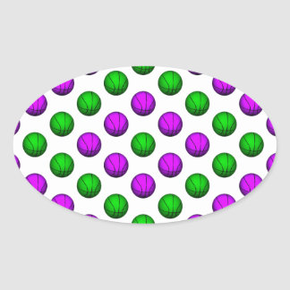 Purple and Green Basketball Pattern Oval Sticker