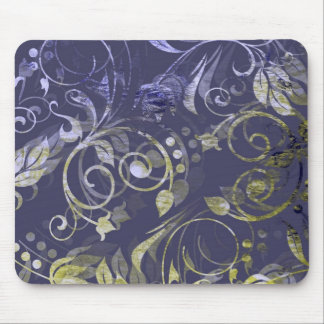 Purple and Green Batik Floral Abstract Mousepad