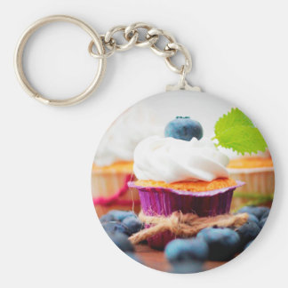 Purple and Green Blueberry Cupcake - Sweet Bakery Basic Round Button Keychain