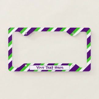 [Purple and Green] Bold Stripes License Plate Frame