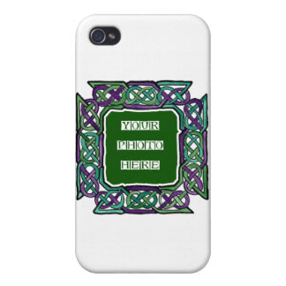 Purple and Green Celtic Knotwork Frames iPhone 4/4S Cover