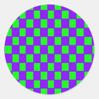 purple and green checker round sticker