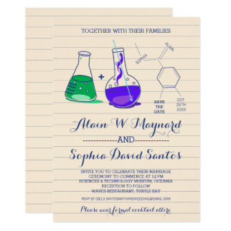 Purple and Green Chemistry Wedding Invitations