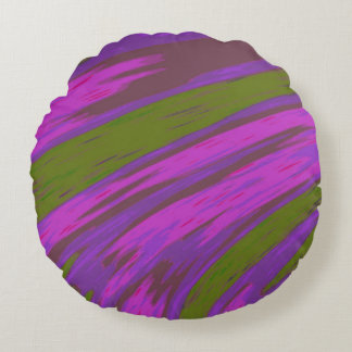 Purple and Green Colour Swish Abstract Round Pillow
