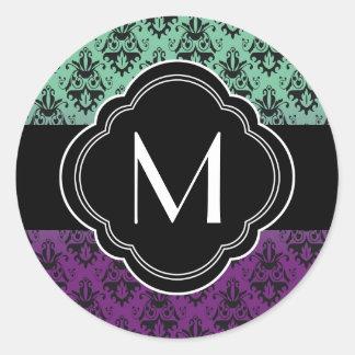 Purple and Green Damask Pattern Round Sticker