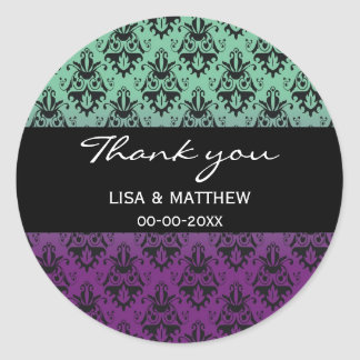 Purple and Green Damask Pattern Round Sticker