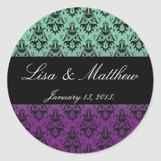 Purple and Green Damask Pattern Sticker