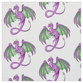 Purple and Green Dragon Fabric