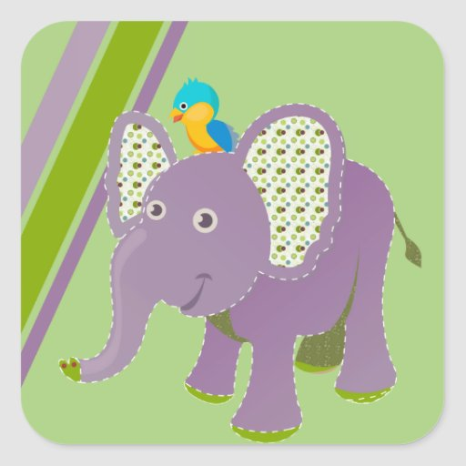 Purple and Green Elephant With Stripes Square Sticker