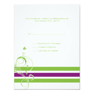 "Purple and Green Floral Bars Wedding RSVP 4.25"" X 5.5"" Invitation Card"