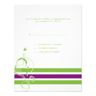 Purple and Green Floral Bars Wedding RSVP Personalized Invite