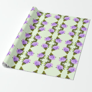 Purple and Green Floral Gift Wrap