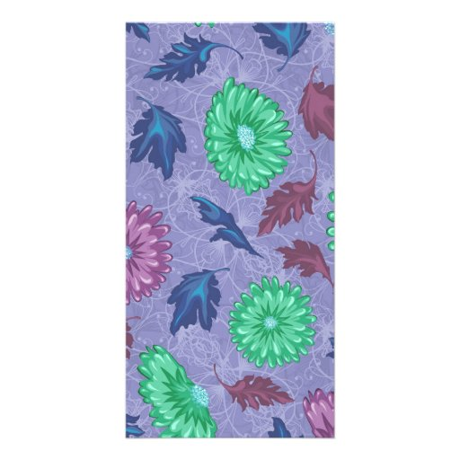 Purple and Green Floral Print Picture Card