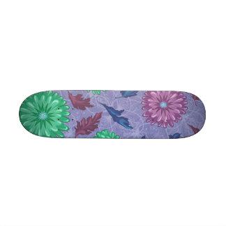 Purple and Green Floral Print Skateboard Decks