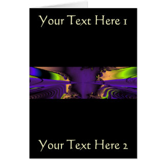 Purple and Green Funky Fractal Art. Greeting Card
