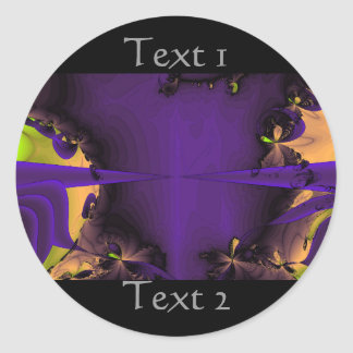 Purple and Green Funky Fractal Art. Classic Round Sticker