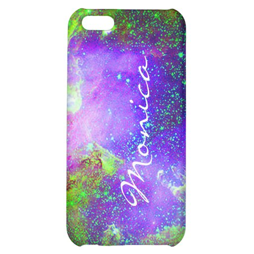 purple and green Galaxy Nebula space image. iPhone 5C Cases