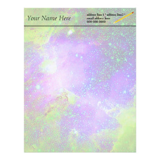 purple and green Galaxy Nebula space image. Custom Letterhead