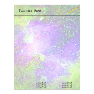 purple and green Galaxy Nebula space image. Letterhead Design
