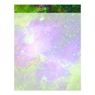 purple and green Galaxy Nebula space image. Customized Letterhead