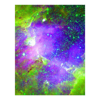 purple and green Galaxy Nebula space image. Letterhead