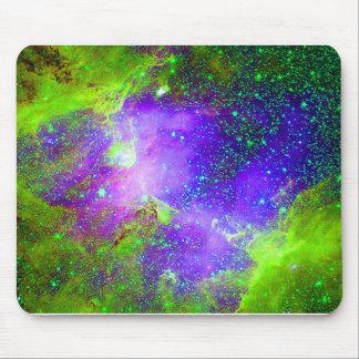 purple and green Galaxy Nebula space image. Mouse Pad