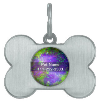 purple and green Galaxy Nebula space image. Pet ID Tags