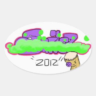 Purple and Green graffiti Sticker