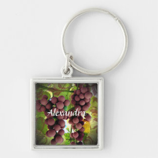 Purple and Green Grapes Vineyard Personalized Name Keychain