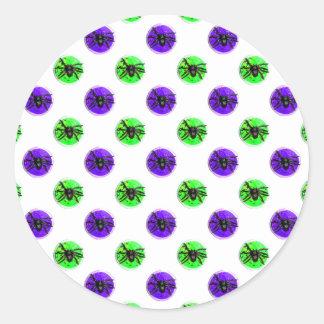 Purple and Green Halloween Spider Cookies Round Sticker